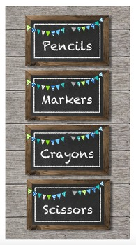 Editable 5 x 3 Chalkboard Tags (with Blue Green Grey Bunting)