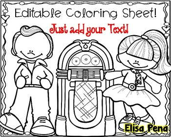 Editable 50th Day of School Coloring Sheet