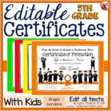 Editable 5th Grade End of Year Certificates - Bright Borders with Kids