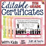 Editable 5th Grade End of Year Certificates - Soft Lights Borders with Kids