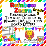 Editable!! 5th Grade Zearn Trackers, Certificates, Bulletin Board, reward tags