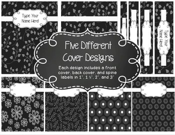 Editable 6 Subject Lesson Plan Book {2017-2018} in Black & White Floral Whimsy