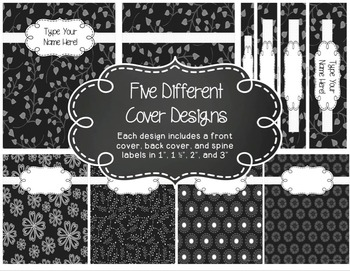 Editable 6-Subject Lesson Plan Book {Days Across the Top} in B&W Floral Whimsy