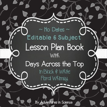Editable 6-Subject Lesson Plan Book {Days Across the Top}