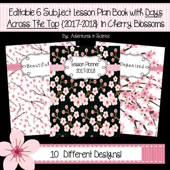 Editable 6-Subject Lesson Plan Book w/Days Across the Top {17-18} in Cherry Bl..