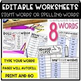 Editable 8 Sight Word, Spelling Words, Word Work, Workshee