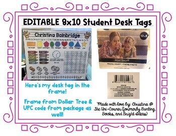 Editable 8x10 Student Desk Tags (plus fun inserts!)