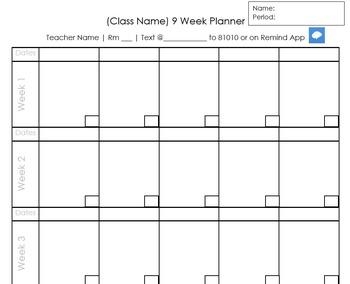 Editable 9 Week Planner