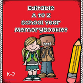 Editable A to Z School Year Memory Booklet for K-2