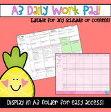 Editable A3 Daily Work Pad Planner Template