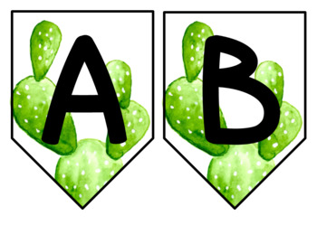 Editable ABC Classroom Banner **Succulents and Cactus**