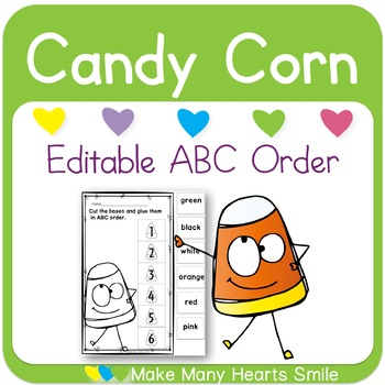 Editable ABC Order: Candy Corn