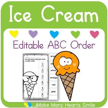 Editable ABC Order: Ice Cream