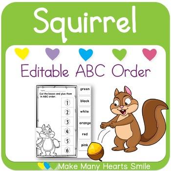 Editable ABC Order: Squirrel and Acorns