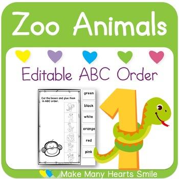 Editable ABC Order: Zoo Animals