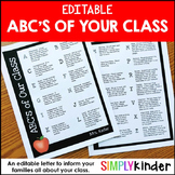 Editable ABC's of Your Class, Meet the Teacher, Back to School