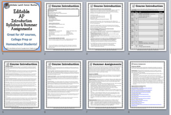 Editable AP Course Introduction & Summer Assignments Packet