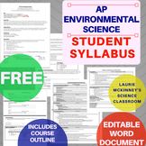 Editable AP Environmental Science Syllabus & Course Pacing Outline - FREE