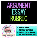 Editable ARGUMENT ESSAY RUBRIC - The ELA Teacher's New Best Friend!