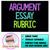 Editable ARGUMENT ESSAY RUBRIC - The ELA Teacher's New Bes
