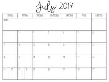 Editable Academic Calendar 2017-2018