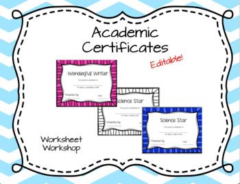 Editable Academic Certificates