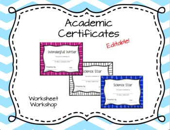 Editable Academic Certificates