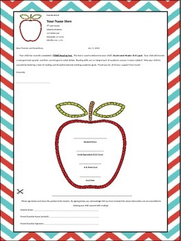 Editable Accelerated Reader Goal Letter to Parents
