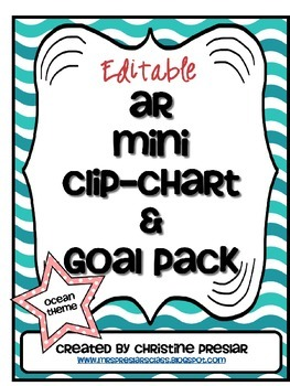 Editable Accelerated Reader Mini Clip-Chart and Goal Pack - {Ocean}