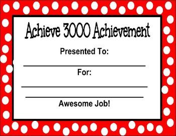 Editable Achieve 3000 Achievement Certificate