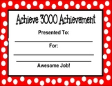 Editable Achieve 3000 Achievement Certificate