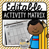 Editable Activity Matrix {FREE}