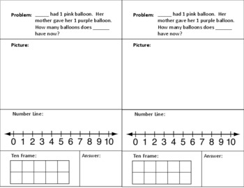 Editable Addition Word Problems - Sums 1 to 10