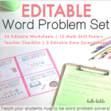 Editable Addition and Subtraction Word Problem Worksheets and Skill Posters