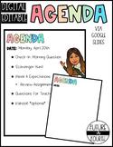 Editable Agenda for Online Meetings via Google Slides- FREE!