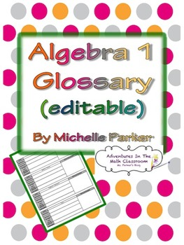 Algebra 1 Glossary Editable (Student Centered)