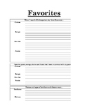 Editable!  All About ME... Favorites book page