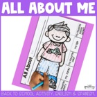 All About Me Back to School Flap Book