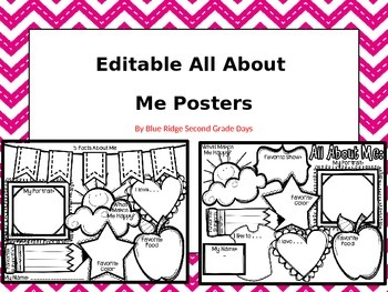 Editable All About Me Posters