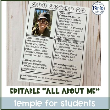 """Editable """"All About Me"""" Sheet for Teachers, Paraprofessionals and Therapists"""