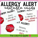 Editable Allergy Alert Cards