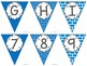 Editable Alphabet Bunting with Blue Prints {Includes Numbers}