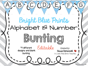 Editable Alphabet Bunting with Bright Blue Prints {Includes Numbers}