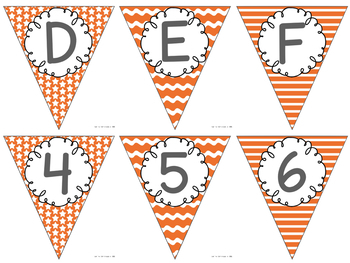 Editable Alphabet Bunting with Orange Prints {Includes Numbers}