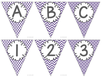 Editable Alphabet Bunting with Purple Prints {Includes Numbers}