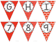 Editable Alphabet Bunting with Red Prints {Includes Numbers}