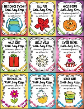 Editable Alphabet, CVC and Sight Word Seasonal Roll Say Ke