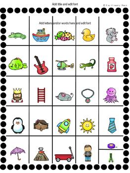 Editable Alphabet Charts
