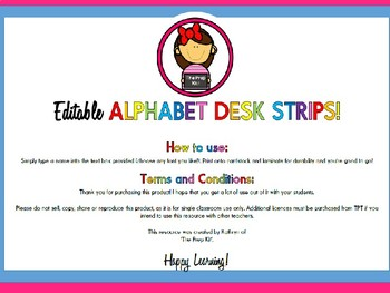 Editable Alphabet Desk Strips - Victorian Modern Cursive Edition