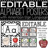 Editable Alphabet Posters with American Sign Language {Chevron}
